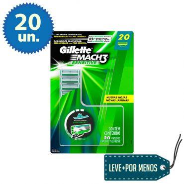 20 Cargas Gillette Mach3 Sensitive: Leve Mais Pague Menos