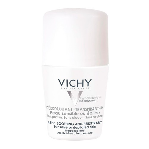 Desodorante 48H Vichy - Desodorante Roll-On para Peles Muito Sensíveis ou Depiladas - 50ml