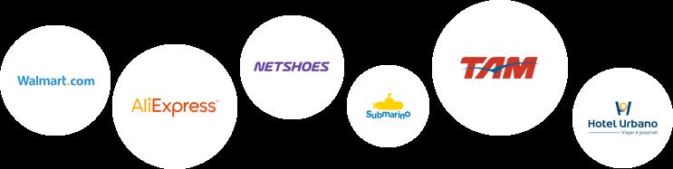 Walmart.com, AliExpress, Netshoes, Submarino, TAM, Hotel Urbano